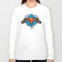 superman Long Sleeve T-shirts featuring Superman  by Wave Sports