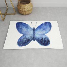 Blue Galaxy Butterfly Rug