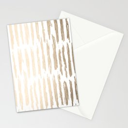 White Gold Sands Vertical Dash Stationery Cards