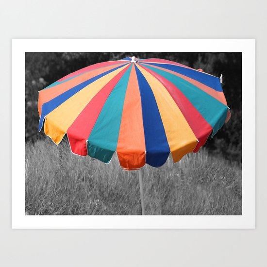 Umbrella Sand Beach Art Print