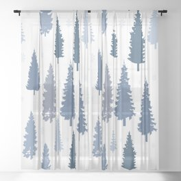 Pines and snowflakes pattern Sheer Curtain