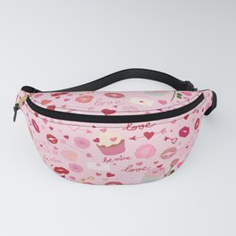 Pink valentine's Day with Kisses, Cupcakes and Roses Fanny Pack