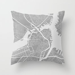 Beantown City Map Throw Pillow