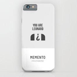 Flat Christopher Nolan movie poster: Memento iPhone Case