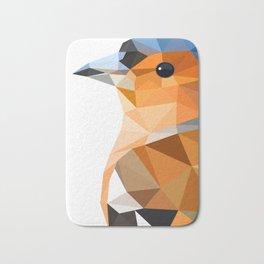 Chaffinch Bird art Geometric artwork Orange brown and blue Bath Mat