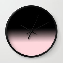 Modern abstract elegant black blush pink gradient pattern Wall Clock