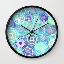 Kooky kaleidoscope Purples and Teal Wall Clock