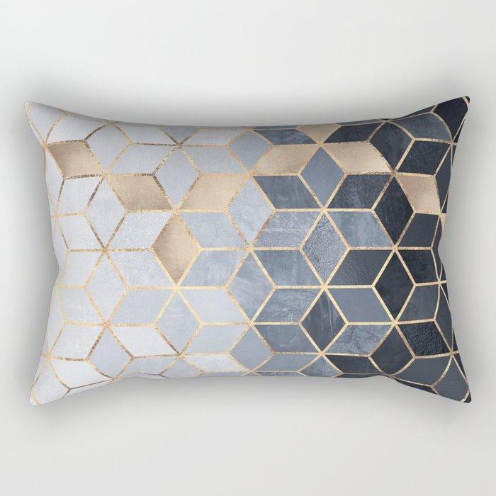 Soft Blue Gradient Cubes Rectangular Pillow
