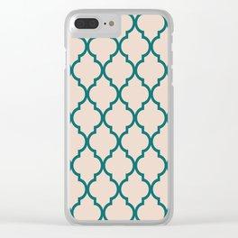 Classic Quatrefoil Lattice Pattern 323 Jade and Beige Clear iPhone Case