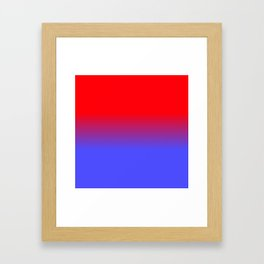 Neon Red and Bright Neon Blue Ombre Shade Color Fade Framed Art Print