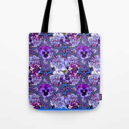 BLUE GEOMETRIC LILAC PURPLE PANSIES GARDEN ART Tote Bag