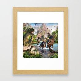 Jurassic dinosaurs in the river Framed Art Print