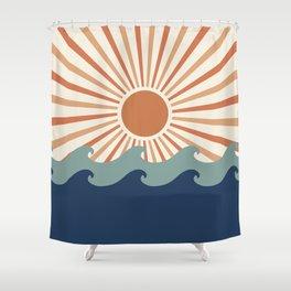 Retro, Sun and Wave Art, Blue and Orange Shower Curtain