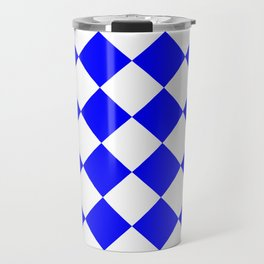 Large Diamonds - White and Blue Travel Mug