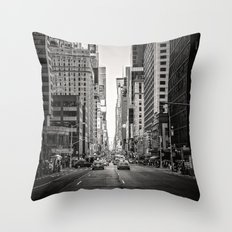 Sunset on 7th (Black and White Version) Throw Pillow