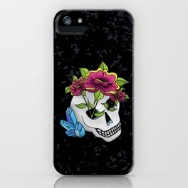Crystals, Roses, and a Skull iPhone Case