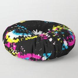 Splash Brush CMYK Colorful Shibori Tie Dye Floor Pillow