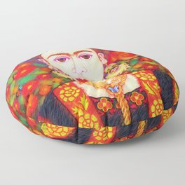 My other Frida Kahlo with butterflies Floor Pillow