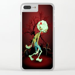 Zombie Creepy Monster Cartoon on Cemetery Clear iPhone Case
