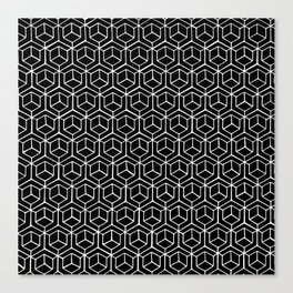 Hand Drawn Hypercube Black Canvas Print