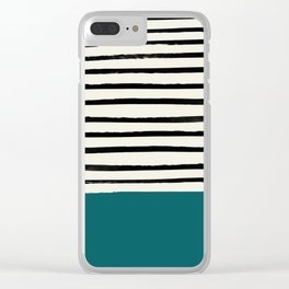 Dark Turquoise & Stripes Clear iPhone Case