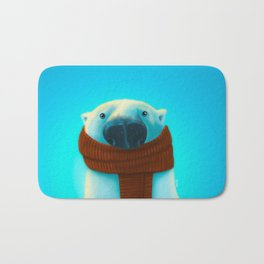 Polar bear with scarf Bath Mat