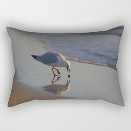 A Seagull Playing With A Bit Of Seaweed Rectangular Pillow