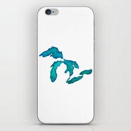 watercolor Great Lakes iPhone Skin