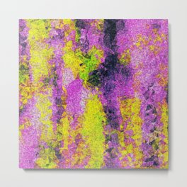 vintage psychedelic painting texture abstract in pink and yellow with noise and grain Metal Print