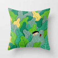 hunting Throw Pillows featuring Hunting by Mark Conlan