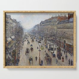 Camille Pissarro  -  Boulevard Montmartre  Morning  Cloudy Weather Serving Tray