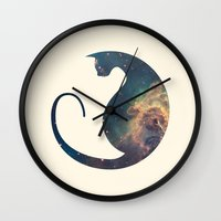 space cat Wall Clocks featuring Space Cat by Kit & Cat