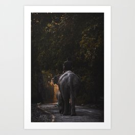 Walking with elephants Art Print