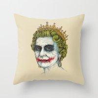 men Throw Pillows featuring God Save the Villain! by Enkel Dika