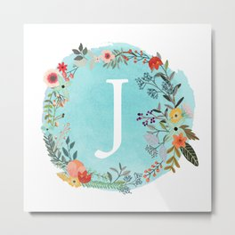 Personalized Monogram Initial Letter J Blue Watercolor Flower Wreath Artwork Metal Print