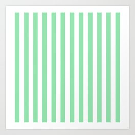 Large Mint Green and White Vertical Cabana Tent Stripes Art Print