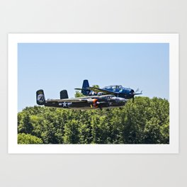 B-24 and Hellcat World War II Aircraft Fly Together at Mosby Missouri Art Print