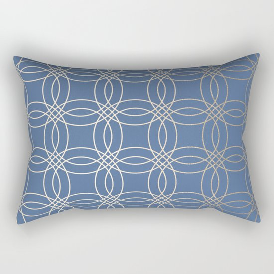 Simply Vintage Link in White Gold Sands and Aegean Blue Rectangular Pillow