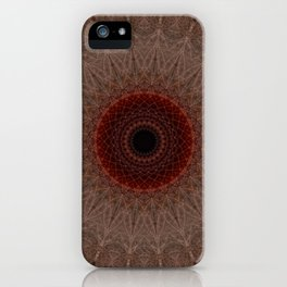 Brown mandala with red sun iPhone Case