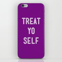 parks and recreation iPhone & iPod Skins featuring Treat Yo Self Purple - Parks and Recreation by Sandra Amstutz