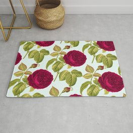 Red roses on blue background - floral print Rug