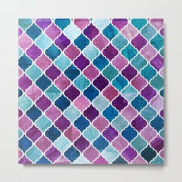 Watercolor Purple and Blue Trellis Pattern Metal Print