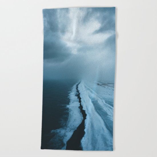 Moody Black Sand Beach in Iceland - Landscape Photography Beach Towel