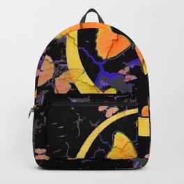 BLACK & YELLOW BUTTERFLIES VIGNETTE ABSTRACT ART Backpack