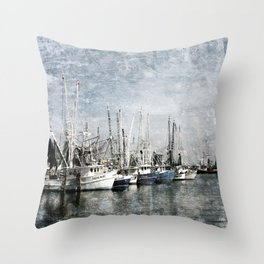Shrimp Boats at the Pass Harbor Throw Pillow