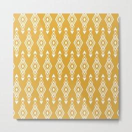 Geometric Art, Aztec Prints, Mustard Yellow and White, Wall Art Boho Metal Print