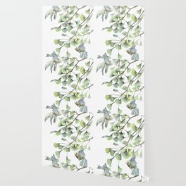 Mint Green Ginkgo Leaves and Green Goldfish Watercolor Design Wallpaper