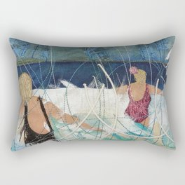 Playing in the surf at Burgh Island by Jackie Wills Rectangular Pillow