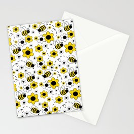 Honey Bumble Bee Yellow Floral Pattern Stationery Cards
