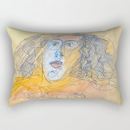 young woman with long frizzy hair Rectangular Pillow
